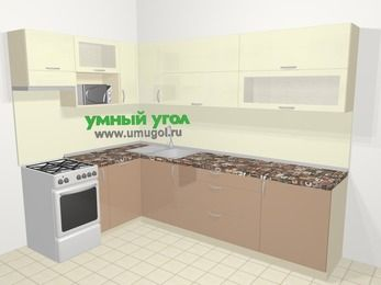 Угловая кухня МДФ глянец в современном стиле 7,2 м², 170 на 270 см, Жасмин / Капучино, верхние модули 72 см, посудомоечная машина, верхний модуль под свч, отдельно стоящая плита