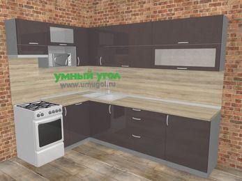 Угловая кухня МДФ глянец в стиле лофт 7,2 м², 170 на 270 см, Шоколад, верхние модули 72 см, посудомоечная машина, верхний модуль под свч, отдельно стоящая плита