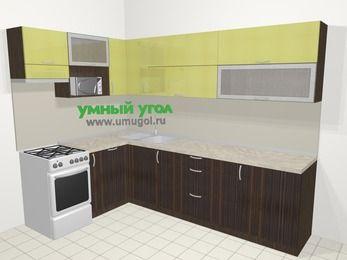 Кухни пластиковые угловые в современном стиле 7,2 м², 170 на 270 см, Желтый Галлион глянец / Дерево Мокка, верхние модули 72 см, посудомоечная машина, верхний модуль под свч, отдельно стоящая плита