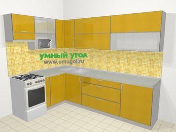 Кухни пластиковые угловые в современном стиле 7,2 м², 170 на 270 см, Желтый глянец, верхние модули 72 см, посудомоечная машина, верхний модуль под свч, отдельно стоящая плита