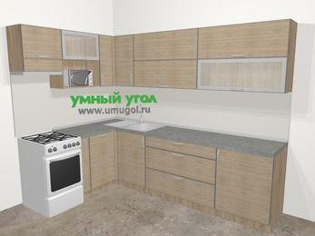 Кухни пластиковые угловые в стиле лофт 7,2 м², 170 на 270 см, Чибли бежевый, верхние модули 72 см, посудомоечная машина, верхний модуль под свч, отдельно стоящая плита