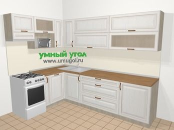 Угловая кухня МДФ патина в классическом стиле 7,2 м², 170 на 270 см, Лиственница белая, верхние модули 72 см, посудомоечная машина, верхний модуль под свч, отдельно стоящая плита
