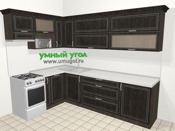 Угловая кухня МДФ патина в классическом стиле 7,2 м², 170 на 270 см, Венге, верхние модули 72 см, посудомоечная машина, верхний модуль под свч, отдельно стоящая плита