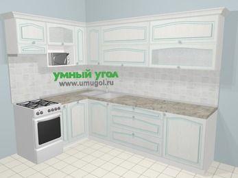 Угловая кухня МДФ патина в стиле прованс 7,2 м², 170 на 270 см, Лиственница белая, верхние модули 72 см, посудомоечная машина, верхний модуль под свч, отдельно стоящая плита