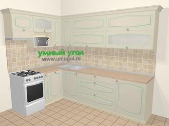 Угловая кухня МДФ патина в стиле прованс 7,2 м², 170 на 270 см, Керамик, верхние модули 72 см, посудомоечная машина, верхний модуль под свч, отдельно стоящая плита