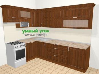 Угловая кухня из массива дерева в классическом стиле 7,2 м², 170 на 270 см, Темно-коричневые оттенки, верхние модули 72 см, посудомоечная машина, верхний модуль под свч, отдельно стоящая плита
