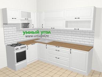 Угловая кухня из массива дерева в скандинавском стиле 7,2 м², 170 на 270 см, Белые оттенки, верхние модули 72 см, посудомоечная машина, верхний модуль под свч, отдельно стоящая плита