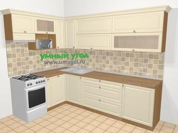 Угловая кухня из массива дерева в стиле кантри 7,2 м², 170 на 270 см, Бежевые оттенки, верхние модули 72 см, посудомоечная машина, верхний модуль под свч, отдельно стоящая плита