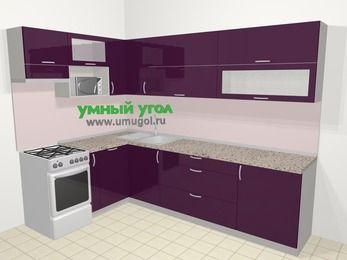Угловая кухня МДФ глянец в современном стиле 7,2 м², 170 на 270 см, Баклажан, верхние модули 72 см, посудомоечная машина, верхний модуль под свч, отдельно стоящая плита