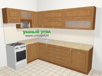 Угловая кухня МДФ патина в классическом стиле 7,2 м², 170 на 270 см, Ольха, верхние модули 72 см, посудомоечная машина, верхний модуль под свч, отдельно стоящая плита
