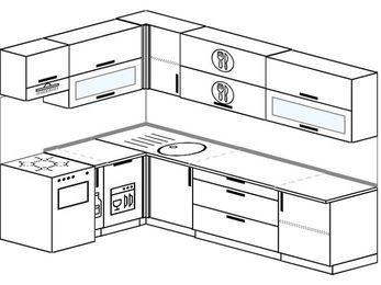 Угловая кухня 7,2 м² (1,7✕2,7 м), верхние модули 72 см, посудомоечная машина, отдельно стоящая плита