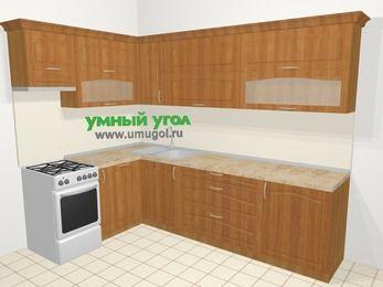 Угловая кухня МДФ матовый в классическом стиле 7,2 м², 170 на 270 см, Вишня, верхние модули 72 см, посудомоечная машина, отдельно стоящая плита