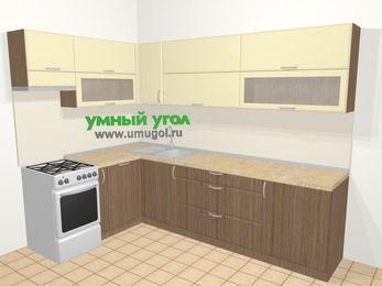 Угловая кухня МДФ матовый в современном стиле 7,2 м², 170 на 270 см, Ваниль / Лиственница бронзовая, верхние модули 72 см, посудомоечная машина, отдельно стоящая плита