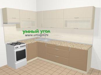 Угловая кухня МДФ матовый в современном стиле 7,2 м², 170 на 270 см, Керамик / Кофе, верхние модули 72 см, посудомоечная машина, отдельно стоящая плита
