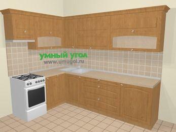 Угловая кухня МДФ матовый в стиле кантри 7,2 м², 170 на 270 см, Ольха, верхние модули 72 см, посудомоечная машина, отдельно стоящая плита