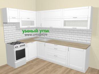 Угловая кухня МДФ матовый  в скандинавском стиле 7,2 м², 170 на 270 см, Белый, верхние модули 72 см, посудомоечная машина, отдельно стоящая плита