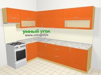 Угловая кухня МДФ металлик в современном стиле 7,2 м², 170 на 270 см, Оранжевый металлик, верхние модули 72 см, посудомоечная машина, отдельно стоящая плита