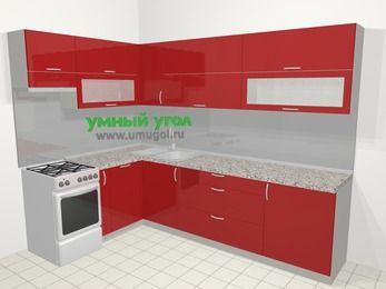 Угловая кухня МДФ глянец в современном стиле 7,2 м², 170 на 270 см, Красный, верхние модули 72 см, посудомоечная машина, отдельно стоящая плита