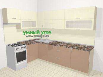 Угловая кухня МДФ глянец в современном стиле 7,2 м², 170 на 270 см, Жасмин / Капучино, верхние модули 72 см, посудомоечная машина, отдельно стоящая плита