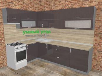 Угловая кухня МДФ глянец в стиле лофт 7,2 м², 170 на 270 см, Шоколад, верхние модули 72 см, посудомоечная машина, отдельно стоящая плита