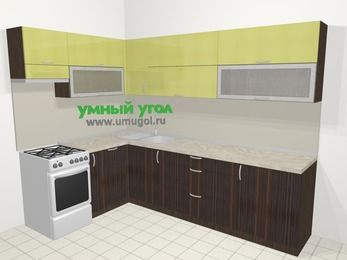 Кухни пластиковые угловые в современном стиле 7,2 м², 170 на 270 см, Желтый Галлион глянец / Дерево Мокка, верхние модули 72 см, посудомоечная машина, отдельно стоящая плита