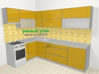 Кухни пластиковые угловые в современном стиле 7,2 м², 170 на 270 см, Желтый глянец, верхние модули 72 см, посудомоечная машина, отдельно стоящая плита