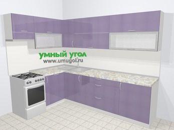 Кухни пластиковые угловые в современном стиле 7,2 м², 170 на 270 см, Сиреневый глянец, верхние модули 72 см, посудомоечная машина, отдельно стоящая плита