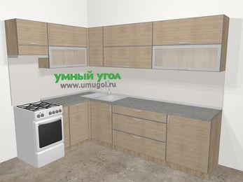 Кухни пластиковые угловые в стиле лофт 7,2 м², 170 на 270 см, Чибли бежевый, верхние модули 72 см, посудомоечная машина, отдельно стоящая плита