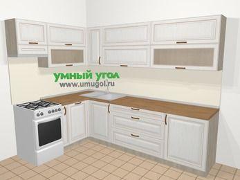 Угловая кухня МДФ патина в классическом стиле 7,2 м², 170 на 270 см, Лиственница белая, верхние модули 72 см, посудомоечная машина, отдельно стоящая плита