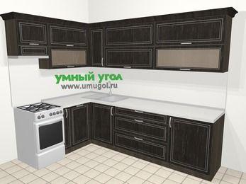 Угловая кухня МДФ патина в классическом стиле 7,2 м², 170 на 270 см, Венге, верхние модули 72 см, посудомоечная машина, отдельно стоящая плита