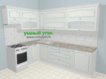 Угловая кухня МДФ патина в стиле прованс 7,2 м², 170 на 270 см, Лиственница белая, верхние модули 72 см, посудомоечная машина, отдельно стоящая плита