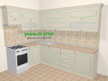 Угловая кухня МДФ патина в стиле прованс 7,2 м², 170 на 270 см, Керамик, верхние модули 72 см, посудомоечная машина, отдельно стоящая плита