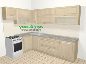 Угловая кухня из массива дерева в классическом стиле 7,2 м², 170 на 270 см, Светло-коричневые оттенки, верхние модули 72 см, посудомоечная машина, отдельно стоящая плита