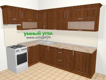 Угловая кухня из массива дерева в классическом стиле 7,2 м², 170 на 270 см, Темно-коричневые оттенки, верхние модули 72 см, посудомоечная машина, отдельно стоящая плита
