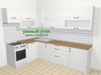 Угловая кухня из массива дерева в скандинавском стиле 7,2 м², 170 на 270 см, Белые оттенки, верхние модули 72 см, посудомоечная машина, отдельно стоящая плита