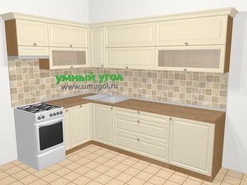 Угловая кухня из массива дерева в стиле кантри 7,2 м², 170 на 270 см, Бежевые оттенки, верхние модули 72 см, посудомоечная машина, отдельно стоящая плита
