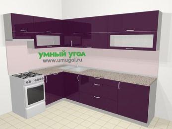 Угловая кухня МДФ глянец в современном стиле 7,2 м², 170 на 270 см, Баклажан, верхние модули 72 см, посудомоечная машина, отдельно стоящая плита