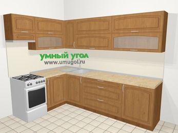 Угловая кухня МДФ патина в классическом стиле 7,2 м², 170 на 270 см, Ольха, верхние модули 72 см, посудомоечная машина, отдельно стоящая плита