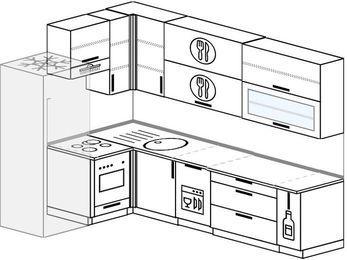 Угловая кухня 7,2 м² (1,7✕2,7 м), верхние модули 92 см, посудомоечная машина, встроенный духовой шкаф, холодильник