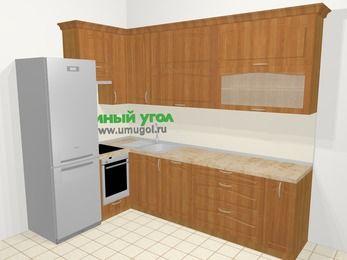 Угловая кухня МДФ матовый в классическом стиле 7,2 м², 170 на 270 см, Вишня, верхние модули 92 см, посудомоечная машина, встроенный духовой шкаф, холодильник