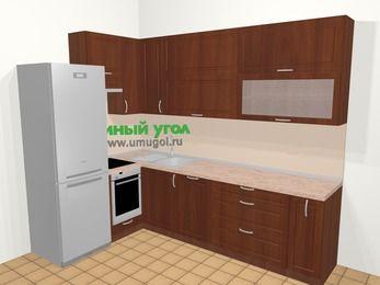Угловая кухня МДФ матовый в классическом стиле 7,2 м², 170 на 270 см, Вишня темная, верхние модули 92 см, посудомоечная машина, встроенный духовой шкаф, холодильник