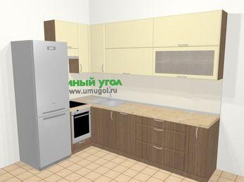 Угловая кухня МДФ матовый в современном стиле 7,2 м², 170 на 270 см, Ваниль / Лиственница бронзовая, верхние модули 92 см, посудомоечная машина, встроенный духовой шкаф, холодильник