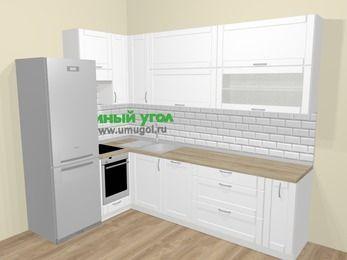 Угловая кухня МДФ матовый  в скандинавском стиле 7,2 м², 170 на 270 см, Белый, верхние модули 92 см, посудомоечная машина, встроенный духовой шкаф, холодильник