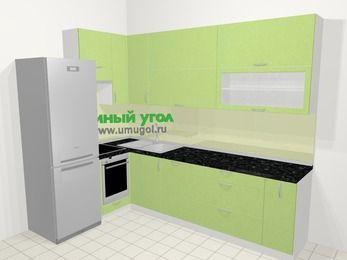 Угловая кухня МДФ металлик в современном стиле 7,2 м², 170 на 270 см, Салатовый металлик, верхние модули 92 см, посудомоечная машина, встроенный духовой шкаф, холодильник