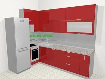 Угловая кухня МДФ глянец в современном стиле 7,2 м², 170 на 270 см, Красный, верхние модули 92 см, посудомоечная машина, встроенный духовой шкаф, холодильник