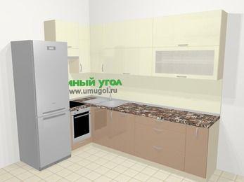 Угловая кухня МДФ глянец в современном стиле 7,2 м², 170 на 270 см, Жасмин / Капучино, верхние модули 92 см, посудомоечная машина, встроенный духовой шкаф, холодильник