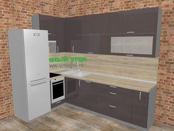 Угловая кухня МДФ глянец в стиле лофт 7,2 м², 170 на 270 см, Шоколад, верхние модули 92 см, посудомоечная машина, встроенный духовой шкаф, холодильник