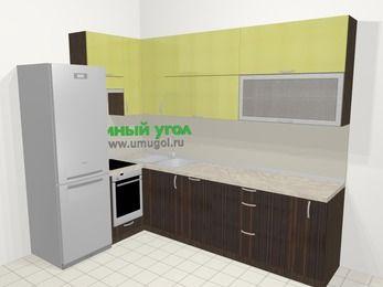 Кухни пластиковые угловые в современном стиле 7,2 м², 170 на 270 см, Желтый Галлион глянец / Дерево Мокка, верхние модули 92 см, посудомоечная машина, встроенный духовой шкаф, холодильник