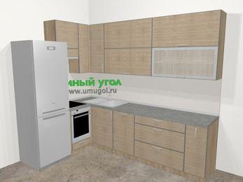 Кухни пластиковые угловые в стиле лофт 7,2 м², 170 на 270 см, Чибли бежевый, верхние модули 92 см, посудомоечная машина, встроенный духовой шкаф, холодильник