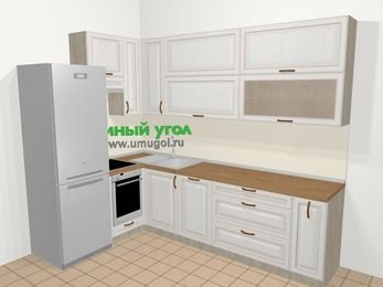 Угловая кухня МДФ патина в классическом стиле 7,2 м², 170 на 270 см, Лиственница белая, верхние модули 92 см, посудомоечная машина, встроенный духовой шкаф, холодильник